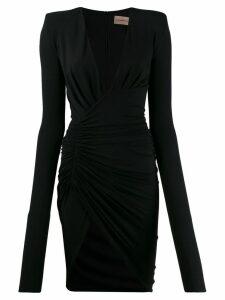 Alexandre Vauthier plunging neck draped mini dress - Black