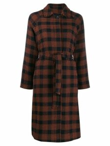 Red Valentino belted plaid coat - Blue