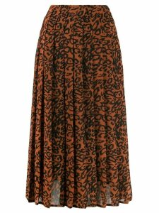 Calvin Klein leopard print pleated skirt - Brown
