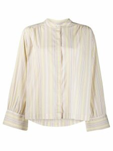 Closed collarless striped shirt - Neutrals