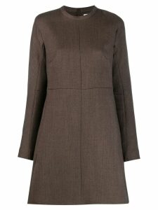 Jil Sander long sleeves shift dress - Brown