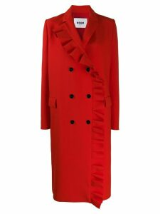 MSGM ruffle trim mid-length coat - Red