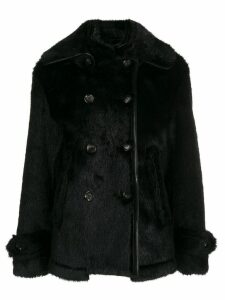 Tom Ford faux fur double breasted coat - Black