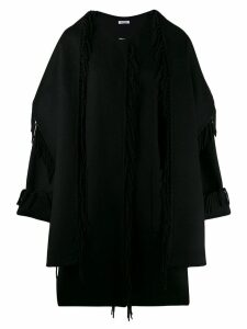 P.A.R.O.S.H. fringed loose fit coat - Black