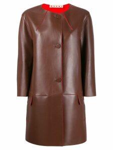 Marni leather collarless coat - Brown