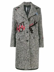 Ermanno Scervino embroidered single-breasted coat - Black