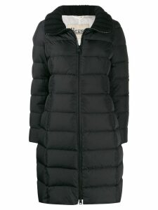 Herno ribbed collar padded coat - Black
