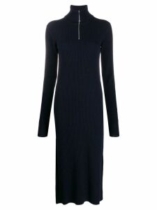 Jil Sander zipped rollneck ribbed dress - Blue