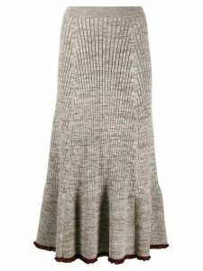 Jil Sander ribbed midi skirt - Neutrals