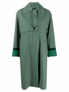 Cédric Charlier check print trench coat - Green