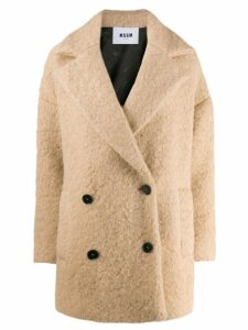 MSGM oversized double-breasted coat - Neutrals