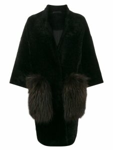 S.W.O.R.D 6.6.44 oversized shearling coat - Black Brown