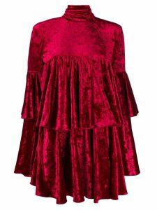 Sara Battaglia ruffled velvet dress - Red