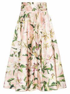 Dolce & Gabbana lily print midi skirt - Pink