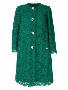 Dolce & Gabbana floral applique lace coat - Green