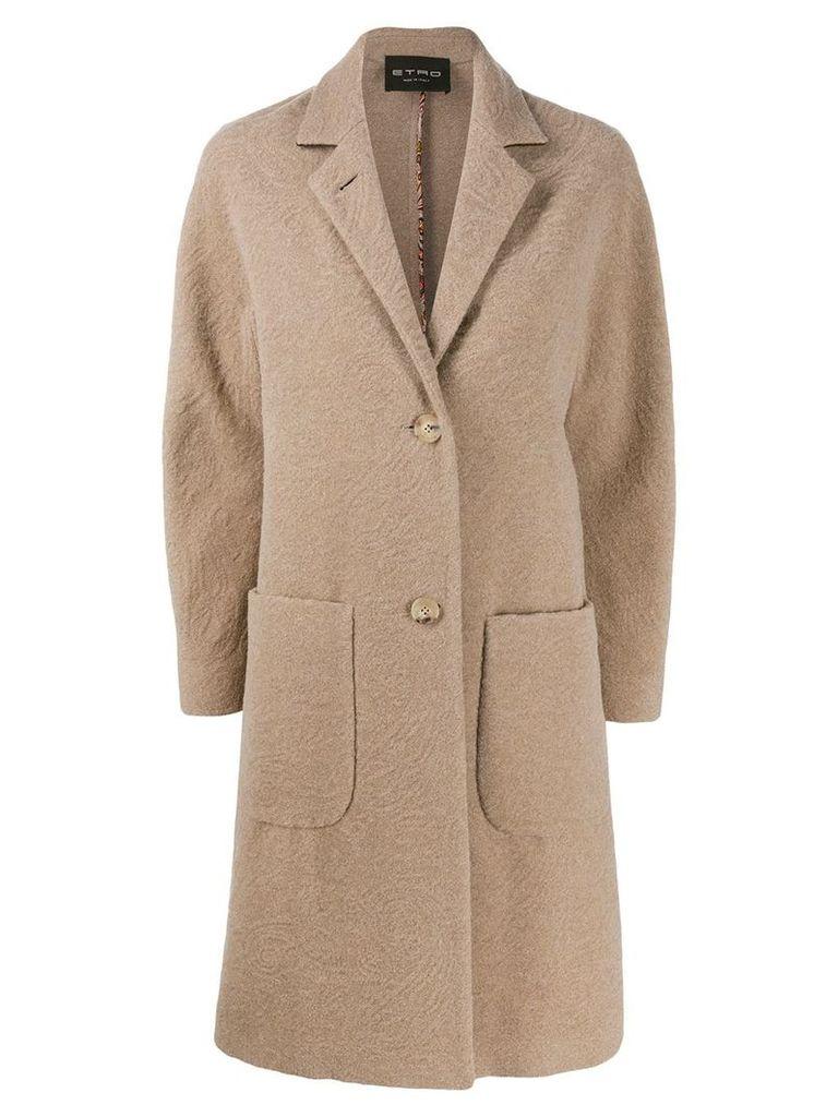 Etro textured wool coat - Neutrals