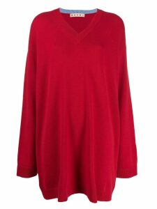 Marni v-neck oversized jumper - Red