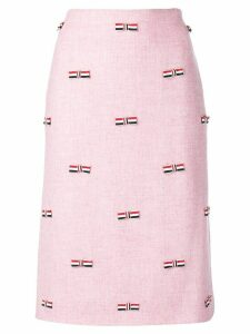 Thom Browne RWB Bow Embroidered Pencil Skirt - Pink