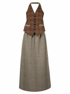 Mm6 Maison Margiela two-fabric checked long dress - Brown