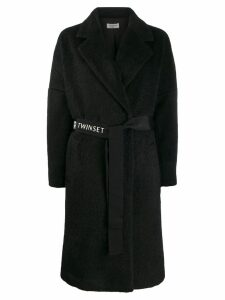 Twin-Set logo belt coat - Black