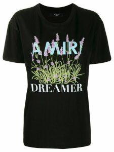 Amiri logo floral print T-shirt - Black