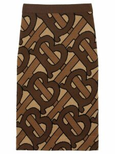 Burberry Monogram Intarsia Wool Pencil Skirt - Brown