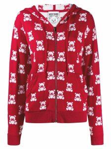 Moschino jacquard teddy bear zipped hoodie - Red