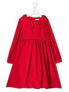 Patachou ruffled neck dress - Red