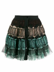 Wandering lace ruffled skirt - Black