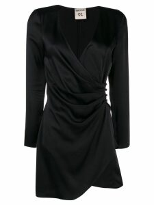 Semicouture satin wrap-effect dress - Black