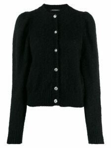 Wandering long-sleeve fitted cardigan - Black