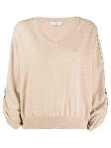 Brunello Cucinelli V-neck cashmere jumper - Neutrals