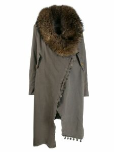 Bazar Deluxe fur collar wrap-around coat - Grey