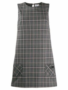 be blumarine check pattern shift dress - Grey