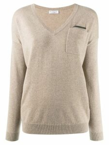 Brunello Cucinelli V-neck jumper - Neutrals