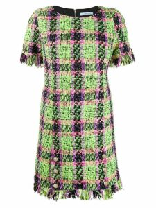 Blumarine check print fringed dress - Green