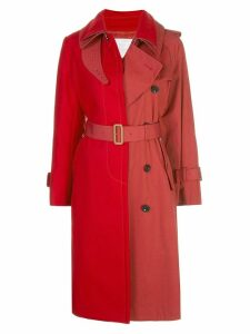 Sacai two-tone trench coat - Red