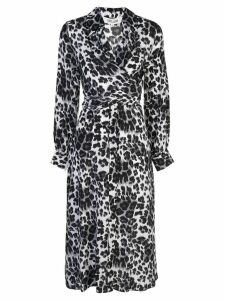 Diane von Furstenberg heritage snow cheetah wrap dress - Grey