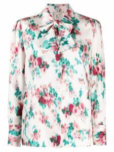 L'Autre Chose floral print shirt with tie - Neutrals