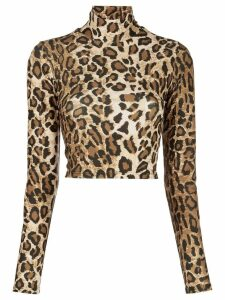 Sprwmn leopard print roll neck top - Brown