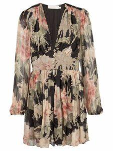 Zimmermann floral mini dress - Black