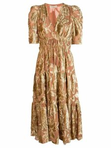Ulla Johnson floral embroidered midi dress - GOLD
