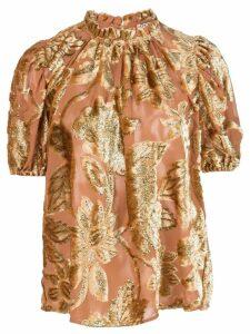 Ulla Johnson cuffed sleeve floral T-shirt - GOLD