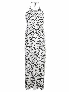 Rixo halterneck dotted dress - White