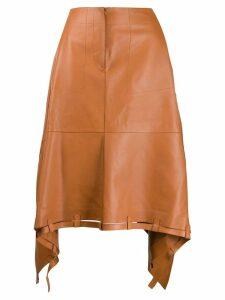 Loewe asymmetric leather skirt - Brown