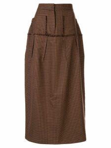 Wynn Hamlyn Etch check midi skirt - Brown