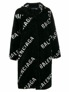 Balenciaga all over logo coat - Black