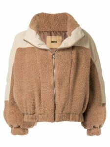 System oversized panelled jacket - Brown