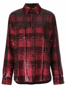 Saint Laurent sequinned plaid shirt - Red