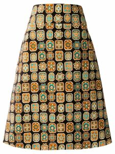 La Doublej a-line piastrelle skirt - Brown